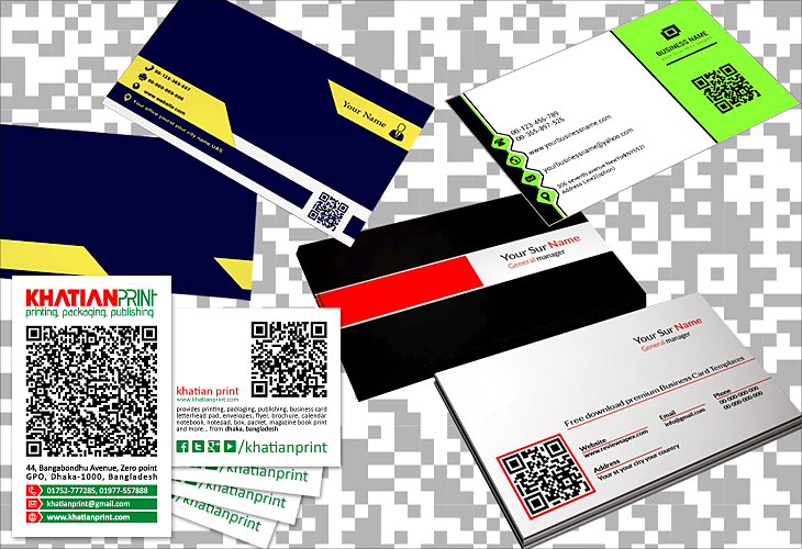 qr code business card barcode qrcode quick response codes visiting cards | Khatian Print